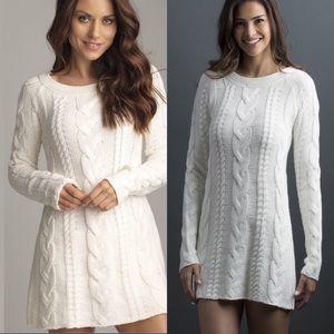 Boyfriend cable knit sweater dress ivory